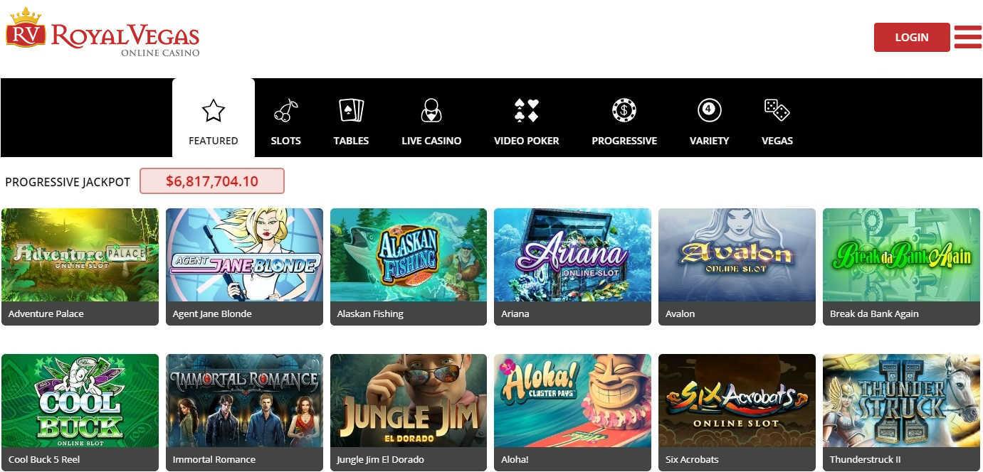 Royal Vegas Online Casino Games